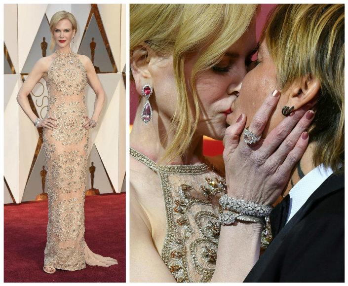 """""""Scanpix"""" nuotr./Nicole Kidman """"Oskarų"""" apdovanojimuose su """"Armani"""" suknele ir """"Harry Winston"""" papuošalais"""