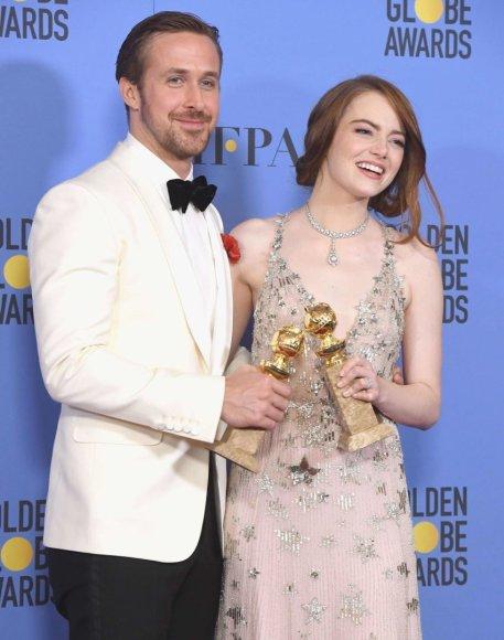"""AFP/""""Scanpix"""" nuotr./Ryanas Goslingas ir Emma Stone"""