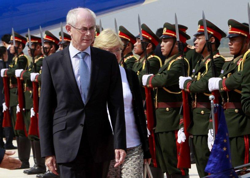 Europos Sąjungos prezidentas Hermanas Van Rompuy Laose