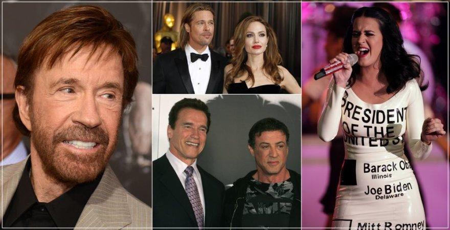 Chuckas Norrisas, Angelina Jolie, Bradas Pittas, Arnoldas Schwarzeneggeris, Sylvesteris Stallone ir Katy Perry