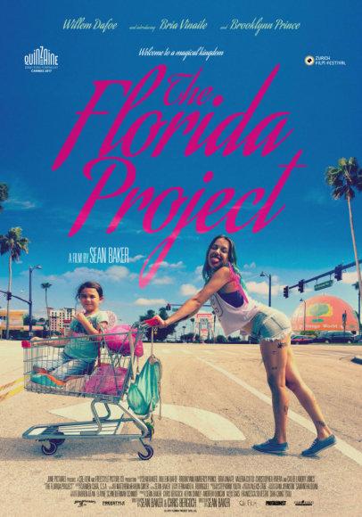 """Filmo """"Floridos projektas"""" su Bria Vinaite ir Brooklynn Prince afiša"""
