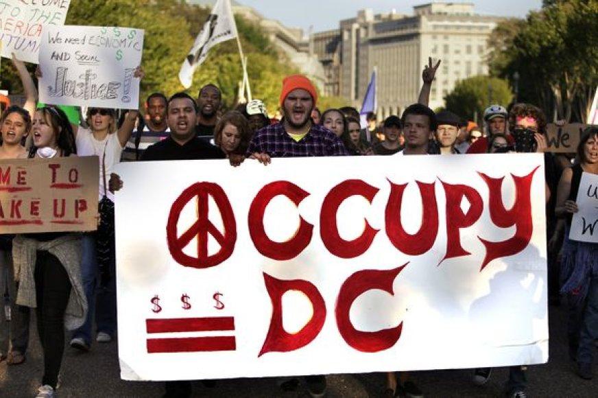"""Protesto grupė """"Occupy DC"""" (""""Užimkite Kolumbijos apygardą"""")"""