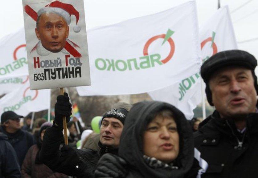 """Maskvoje """"Jabloko"""" mitinge protestavo keli tūkstančiai žmonių."""