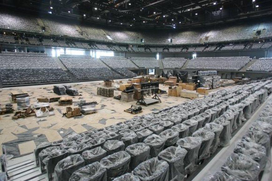Kauno arenoje sumontuotų kėdžių gali nelikti prieš pat pabaigtuves.