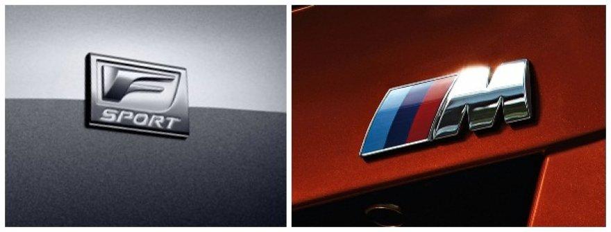 """""""Lexus F Sport"""" ir BMW M ženklai"""
