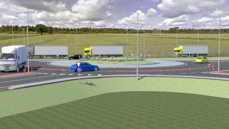 """AB """"Panevėžio keliai"""" vizualizacija/Turbo-žiedinė sankryža """"Via Baltica"""" kelyje"""
