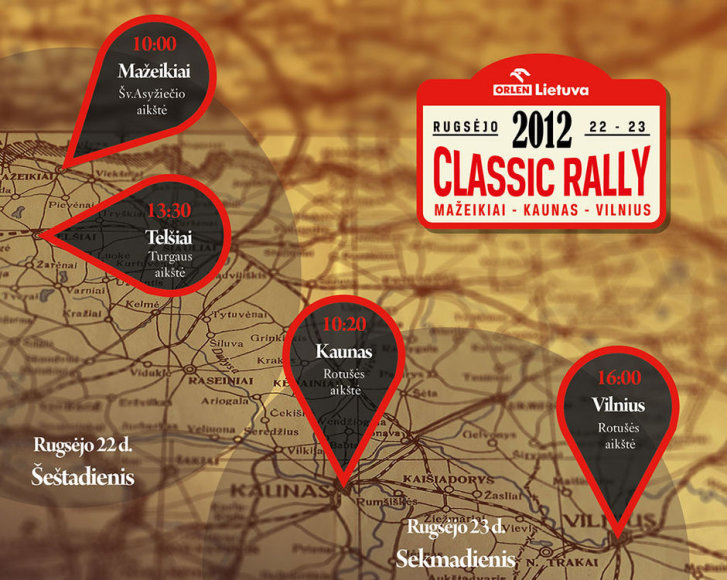 """Orlen Lietuva Classic Rally"" žemėlapis"