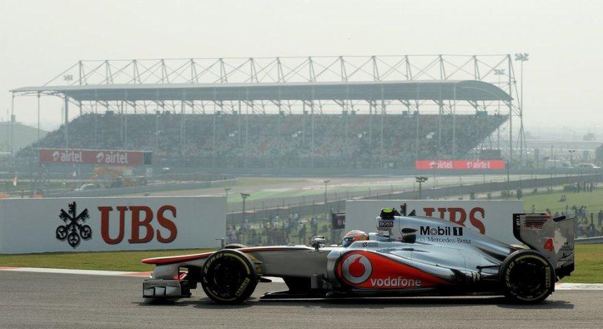 F-1 Indijos lenktynių kvalifikacijos akimirka