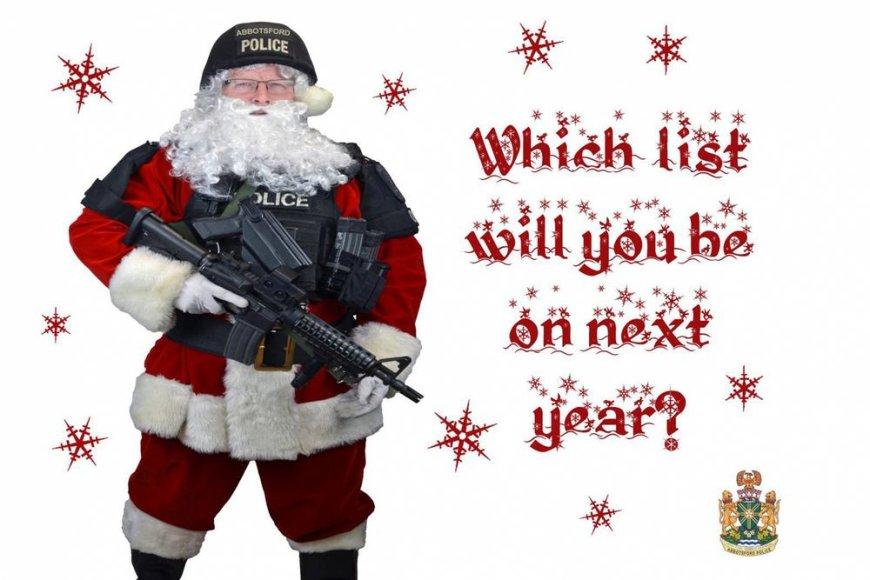 Abbotsfordo miesto (Kanada) policija nusprendė išsiuntinėti vietos nusikaltėliams kalėdinius atvirukus