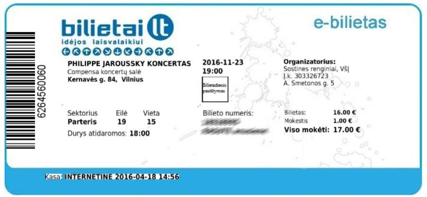 Bilietas į Jaroussky koncertą