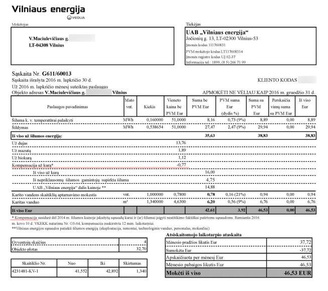 """""""Vilniaus energijos"""" sąskaita už 2016 m. lapkritį."""