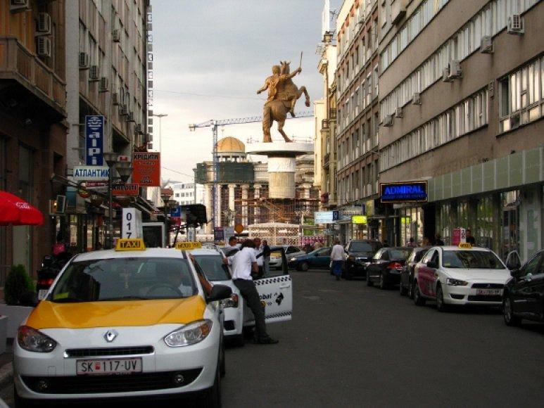Aleksandro Makedoničio skulptūra miesto centre