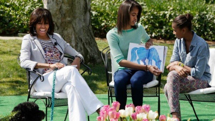 Мишель Обама с дочерьми