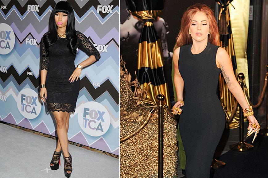 Atlikėjos Nicki Minaj (kairėje) ir Lady Gaga (dešinėje)