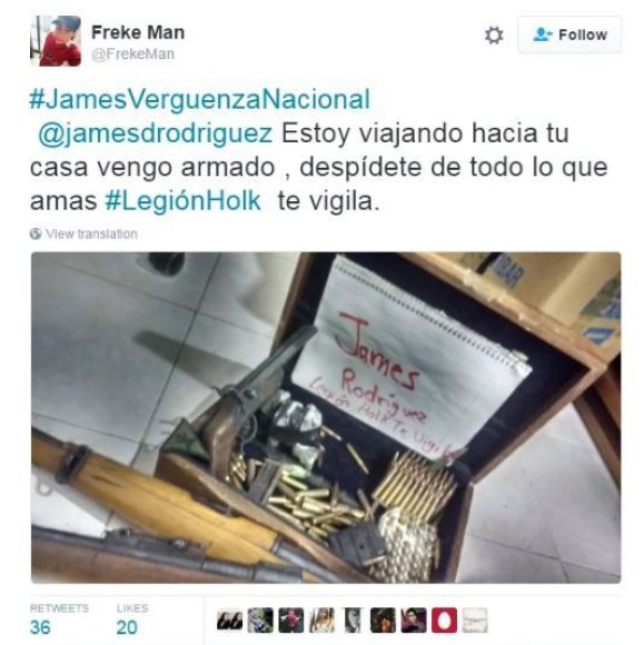 """""""Twitter"""" nuotr./Jamesui Rodriguezui grasinanti žinutė"""