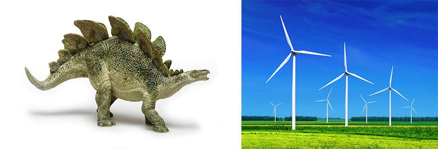 Projekto partnerio nuotr./Stegozauras / Vėjo jėgainės