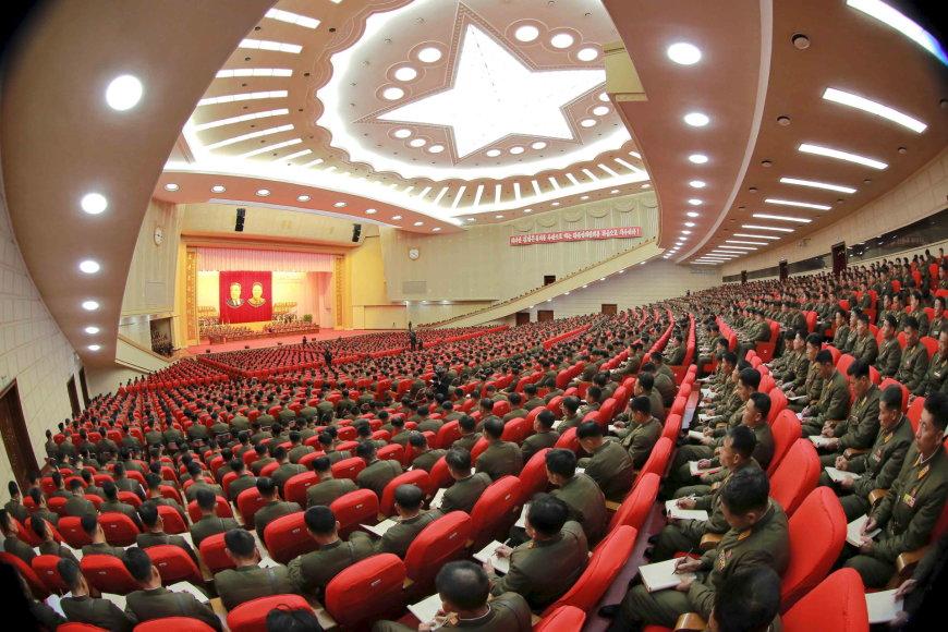 """""""Reuters""""/""""Scanpix"""" nuotr./Šiaurės Korėjos režimo posėdžių salė"""