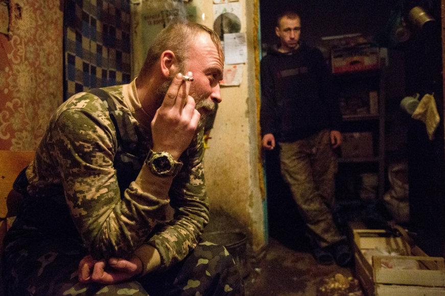Vidmanto Balkūno/15min.lt nuotr./Marjinkos priešakinių linijų karys Valentinas šaukiniu Validolis