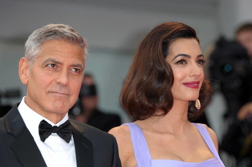 """""""Scanpix""""/kilmax MEGA nuotr./George'as Clooney ir Amal Clooney"""