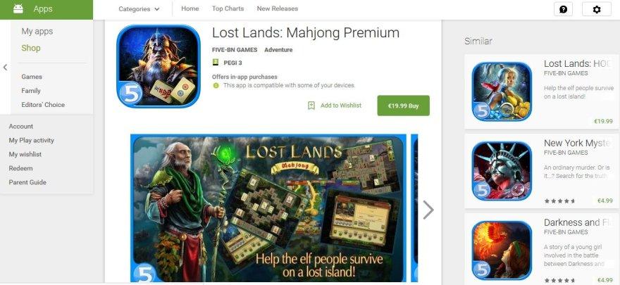 Žaidimas Google Play parduotuvėje