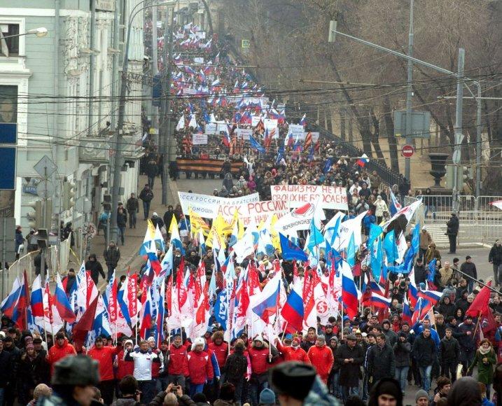 Kremlit toetavad aktivistid marssisid Moskvas Ukrainas elavatae venelaste toetuseks