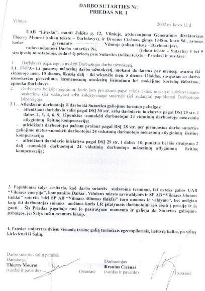 Darbo sutarties priedas