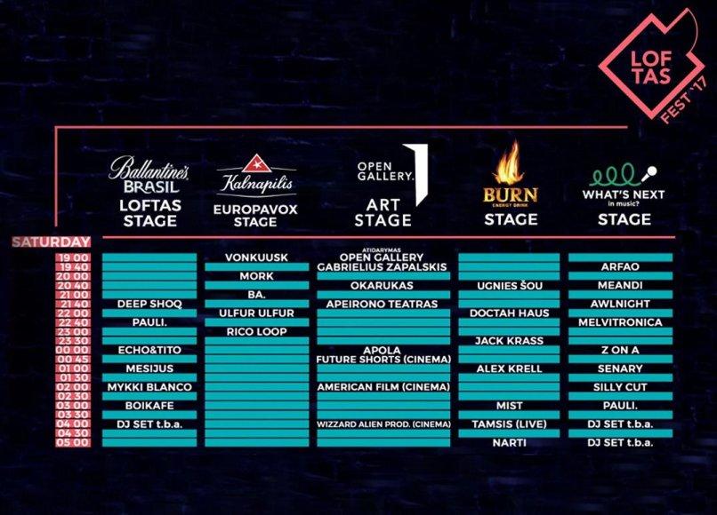 """Organizatorių nuotr./""""Loftas Fest"""" šeštadienio programa"""