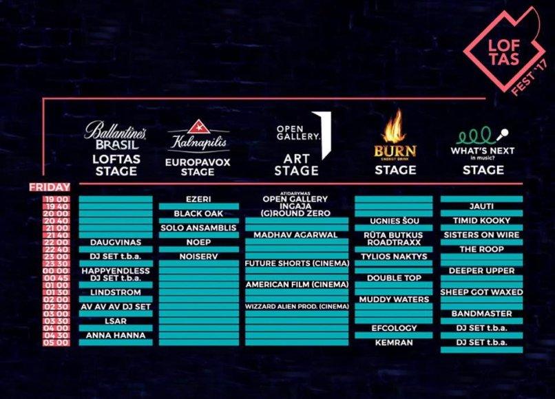 """Organizatorių nuotr./""""Loftas Fest"""" penktadienio programa"""
