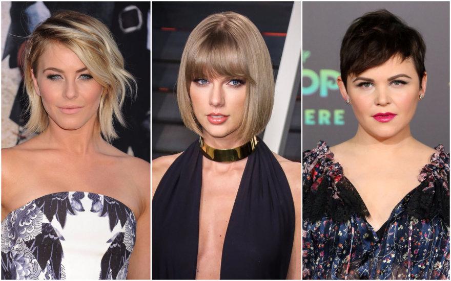 "Vida Press nuotr./Kirpimas: ""shag"" (Julianne Hough), ""bob"" (Taylor Swift) ir ""pixie"" (Ginnifer Goodwin)"