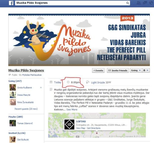 Facebook renginio puslapyje renginio pradžia nurodyta 20h
