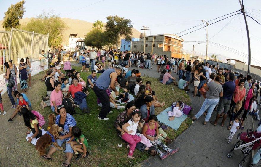 Evakuoti žmonės Čilėje
