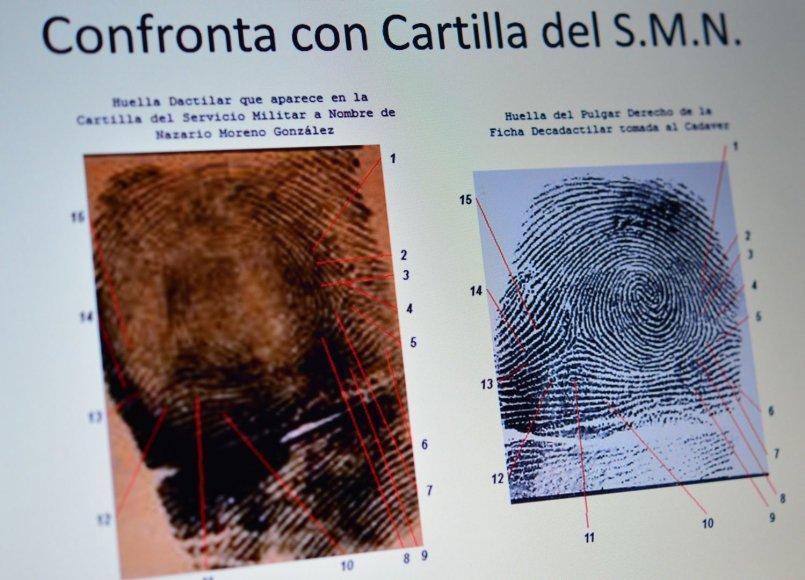 Nazario Moreno pirštų antspaudų palyginimas
