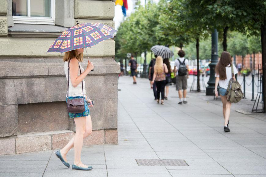 Vilniaus centrą užliejo lietus