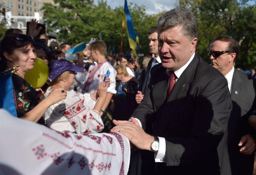 Ukrainos prezidentas Petro Porošenka susitiko su Ukrainą palaikančiais žmonėmis Vašingtone
