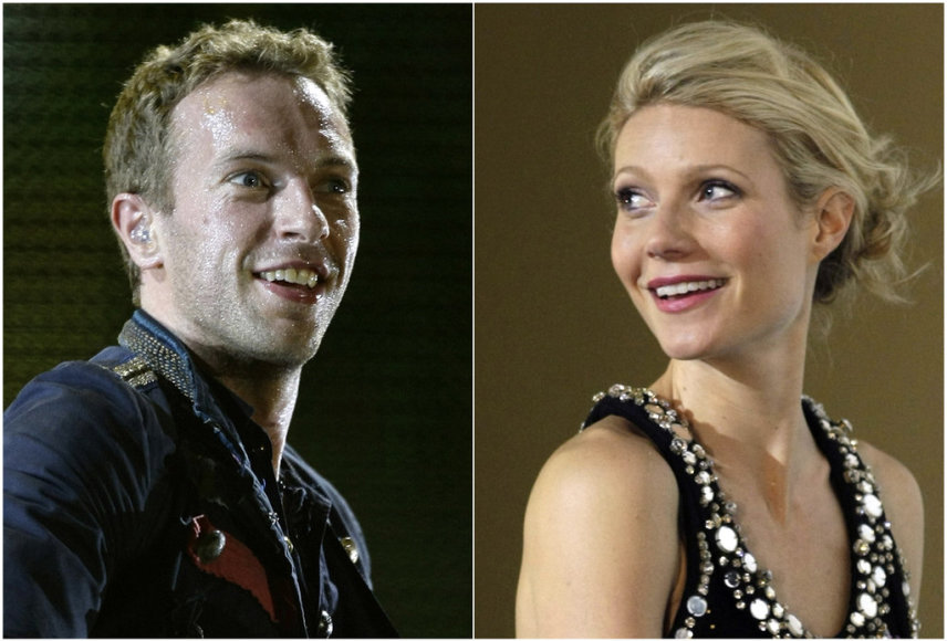 "A combination photo of singer Chris Martin of Coldplay performing during a concert as part of their ""Viva La Vida"" tour in Barcelona September 4, 2009 and actress Gwyneth Paltrow posing during the premiere of her film ""Iron Man"" in Berlin April 22, 2008. Actress Paltrow and husband Martin, the lead"