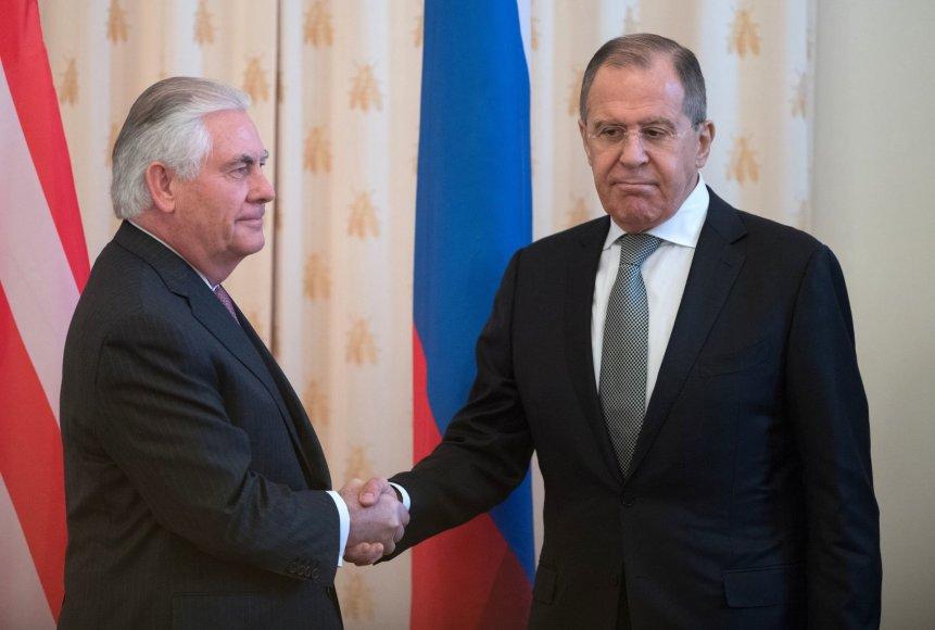 Rexas Tillersonas ir Sergejus Lavrovas Maskvoje