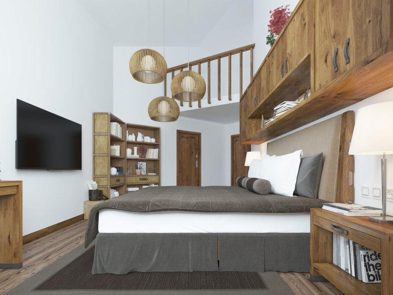 Originalus miegamojo interjeras