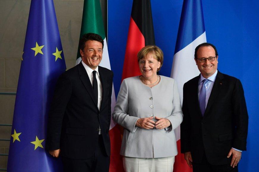 Matteo Renzi, Angela Merkel ir Francois Hollande'as