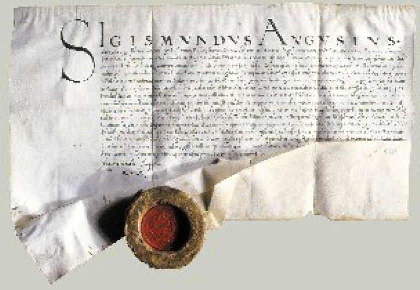 Žygimanto Augusto 1551 m. pergamentas