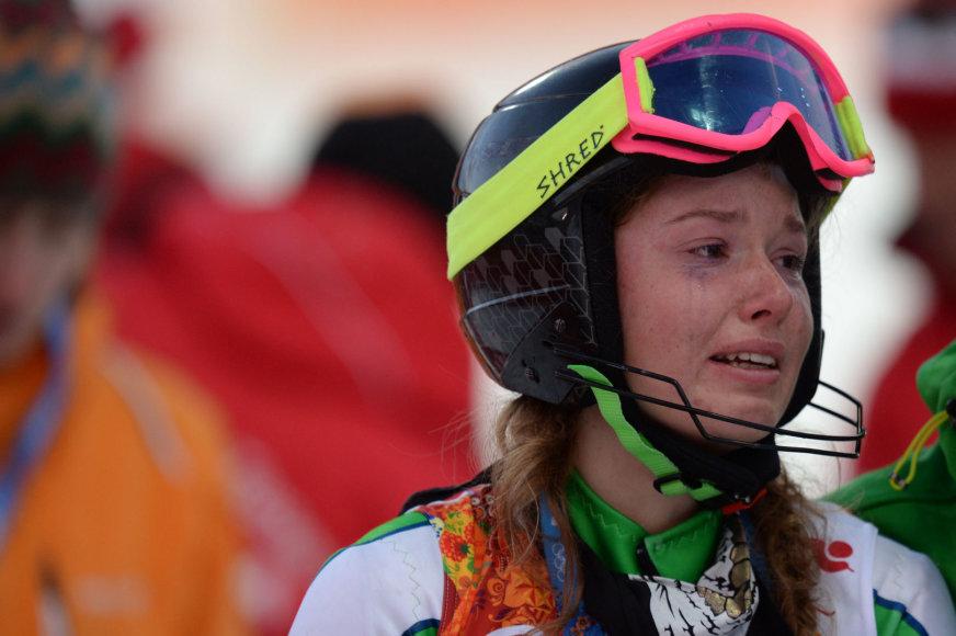Ieva Januškevičiūtė po nevykusio starto Sočio olimpiadoje neslėpė apmaudo ir ašarų