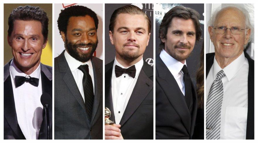 Matthew McConaughey, Chiwetelas Ejioforas, Leonardo DiCaprio, Christianas Bale'as ir Bruce'as Dernas