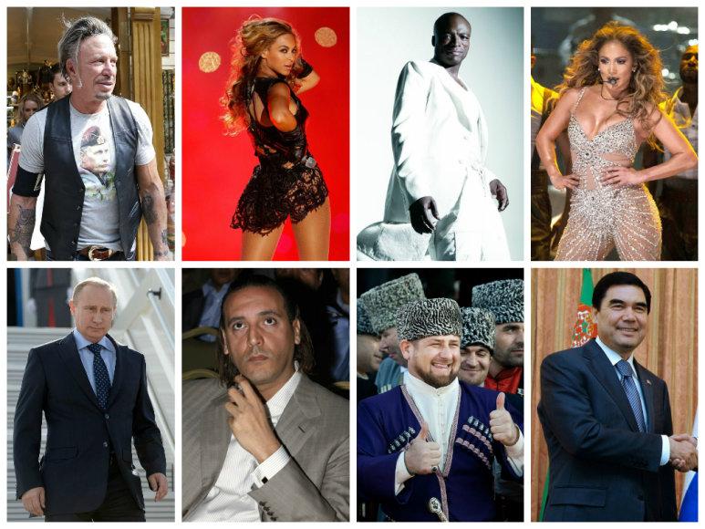 Mickey Rourke'as ir Vladimiras Putinas, Beyonce ir Hannibalas Gaddafi, Sealas ir Ramzanas Kadyrovas, Jennifer Lopez ir Gurbangulis Berdimuhamedovas