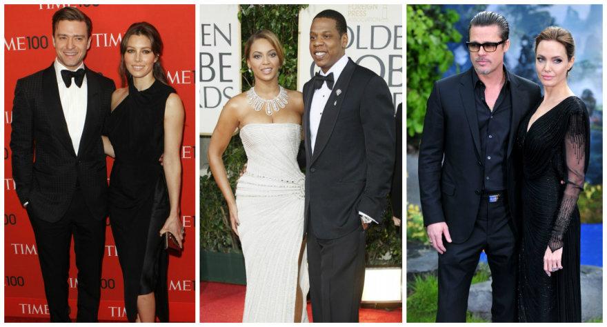 Justinas Timberlake'as su Jessica Biel, Beyonce su Jay-Z ir Bradas Pittas su Angelina Jolie