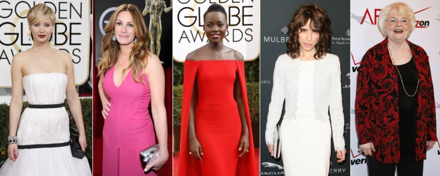 Jennifer Lawrence, Julia Roberts, Lupita Nyong'o, Sally Hawkins ir June Squibb
