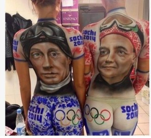 Piešiniai ant kūnų – Vladimiras Putinas ir Dmitrijus Medvedevas