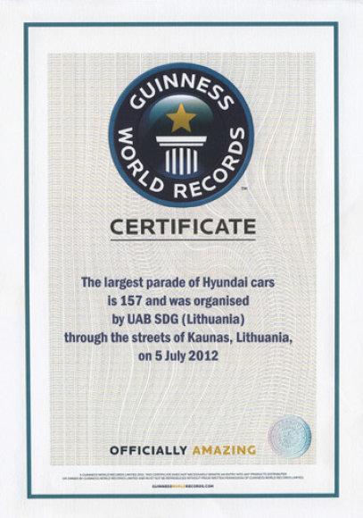Guinesso rekordo sertifikatas