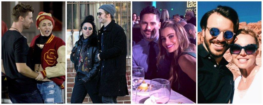 Miley Cyrus ir Patrickas Schwarzeneggeris, Robertas Pattinsonas ir FKA Twigs, Sofia Vergara ir Joe Manganiello, Britney Spears ir Charlie Ebersolis