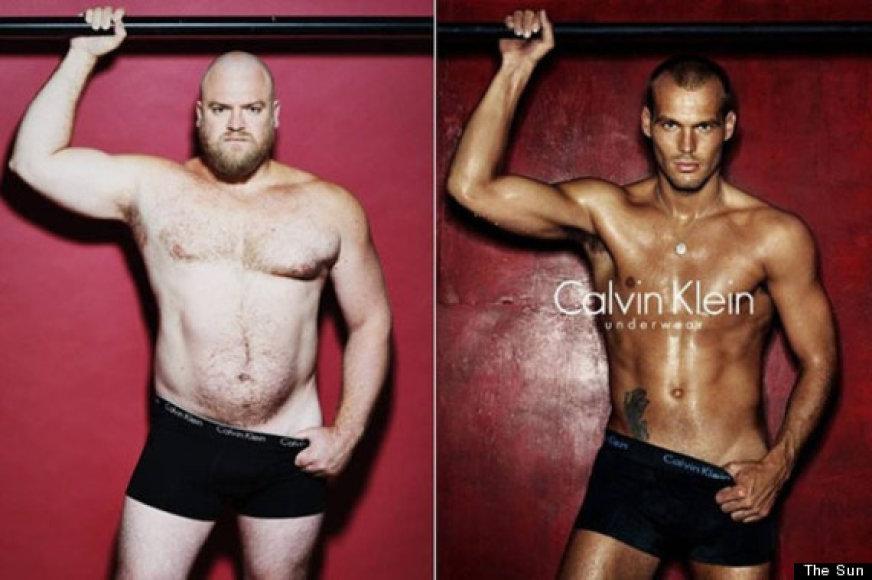 Eiliniai vyrai perkūrė apatinių reklamas su raumeningais modeliais