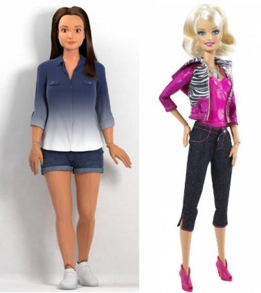 """""""Lammily"""" realistiškų formų barbė (kairėje) ir tobulų formų barbė (dešinėje)"""