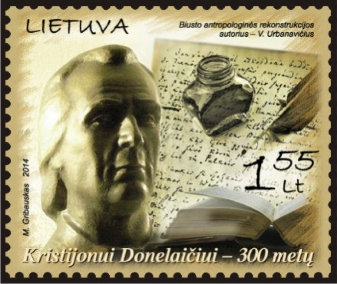 Pašto ženklas su Kristijono Donelaičio portretu.